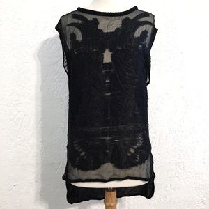 IRO black feather blouse shell size 38